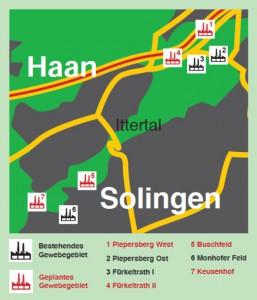 Karte mit Gewerbegebieten