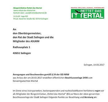 Anregung gemäß §24 GO NRW