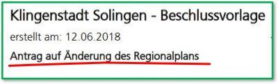 Buschfeld, Antrag zur Änderung des Regionalplans